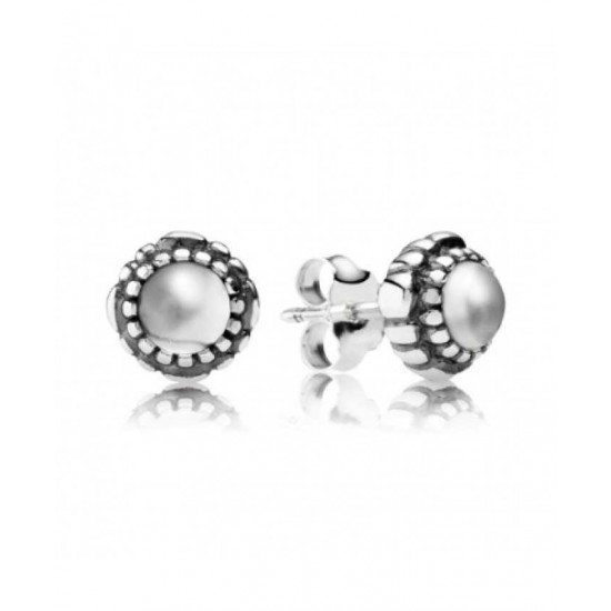 Pandora Earring-Silver April Birthstone Rock Crystal Stud Jewelry