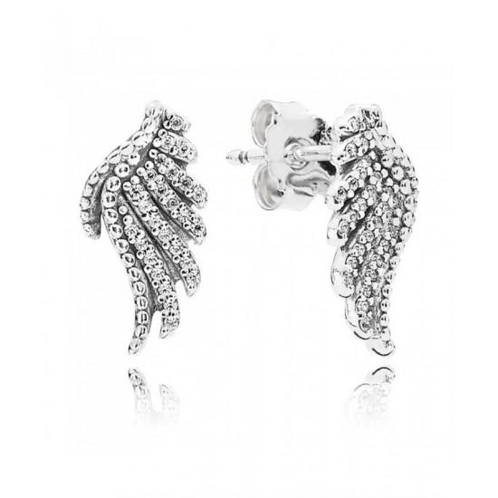 Pandora Earring-Silver Cubic Zirconia Majestic Feathers Studs Jewelry