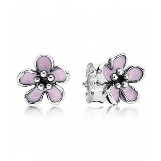 Pandora Earring-Silver Cherry Blossom Flower Studs Jewelry
