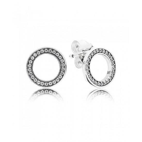Pandora Earring-Silver Cubic Zirconia Circle Jewelry