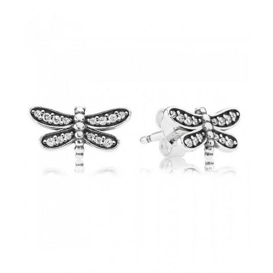 Pandora Earring-Silver Cubic Zirconia Dragonfly Stud Jewelry