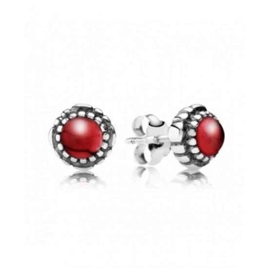 Pandora Earring-Silver January Birthstone Garnet Stud Jewelry