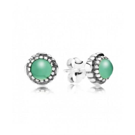 Pandora Earring-Silver May Birthstone Chyrsoprase Stud Jewelry