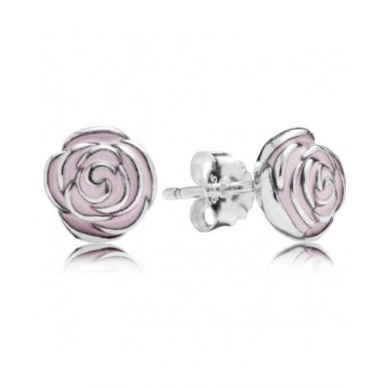 Pandora Earring-Silver Pink Enamel Rose Stud Jewelry