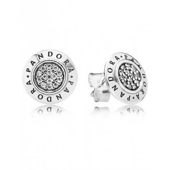 Pandora Earring-Silver Round Cubic Zirconia Signature Stud Jewelry