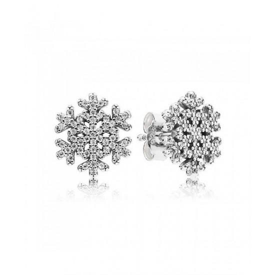 Pandora Earring-Silver Cubic Zirconia Snowflake Jewelry