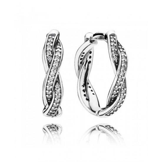 Pandora Earring-Silver Cubic Zirconia Twist Of Faith Hoop Jewelry