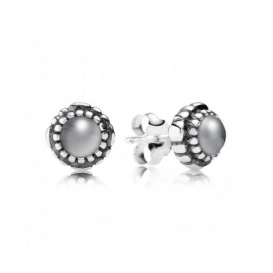 Pandora Earring-Silver June Birthstone Moonstone Stud Jewelry