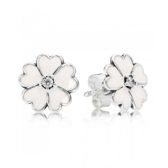 Pandora Earring-Silver White Enamel Cubic Zirconia Primrose Stud Jewelry