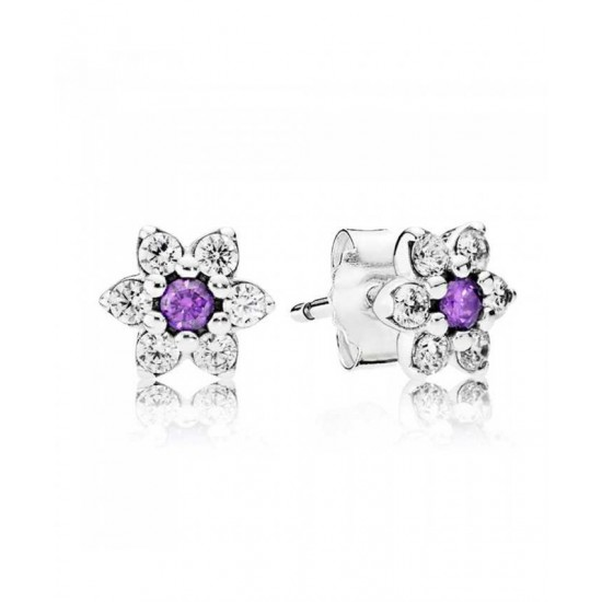 Pandora Earring-Silver Cubic Zirconia Forget Me Not Stud Jewelry