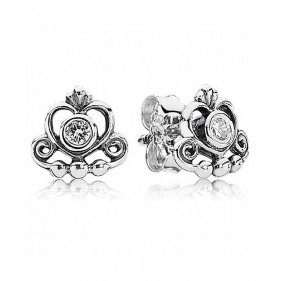 Pandora Earring-Silver Cubic Zirconia Romance Stud Jewelry