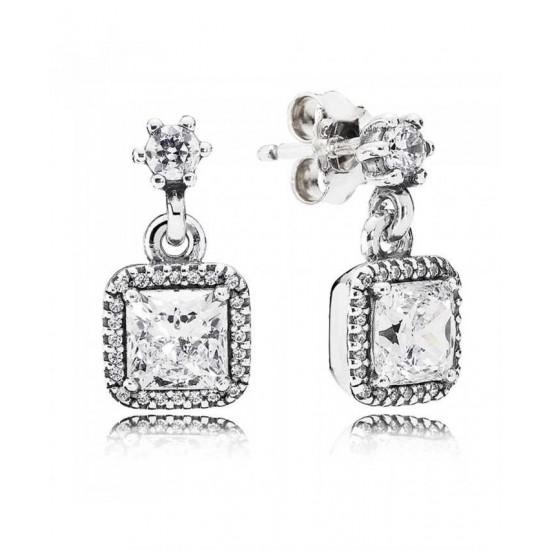 Pandora Earring-Silver Cubic Zirconia Square Jewelry