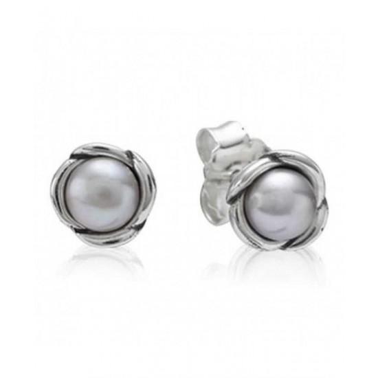 Pandora Earring-Sterling Silver Grey Freshwater Pearl Flower Studs Jewelry