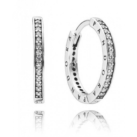 Pandora Earring-Silver Pave Signature Hoop Jewelry