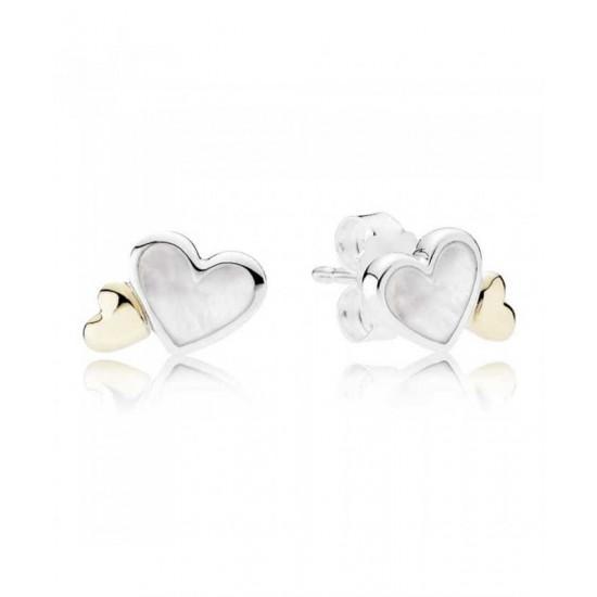 Pandora Earring-Silver 14ct Gold Luminous Hearts Jewelry