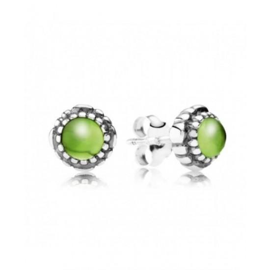 Pandora Earring-Silver August Birthstone Peridot Stud Jewelry