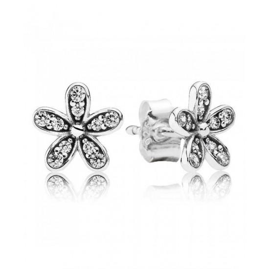 Pandora Earring-Silver Cubic Zirconia Daisy Stud Jewelry