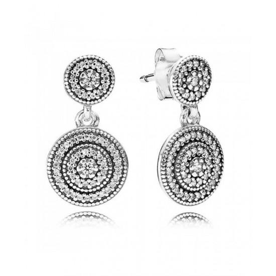 Pandora Earring-Silver Cubic Zirconia Radiant Elegance Jewelry