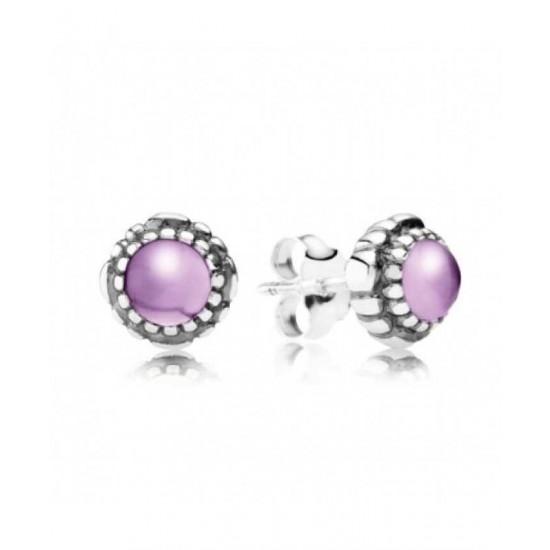 Pandora Earring-Silver February Birthstone Amethyst Stud Jewelry
