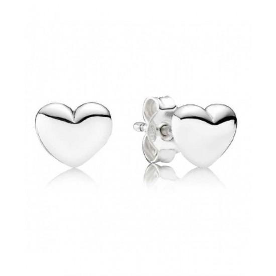 Pandora Earring-Silver Heart Studs Jewelry