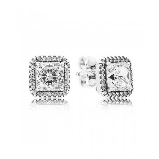 Pandora Earring-Silver Timeless Elegance Cubic Zirconia Stud Jewelry
