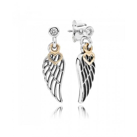 Pandora Earring-Silver Cubic Zirconia Love And Guidance Studs Jewelry