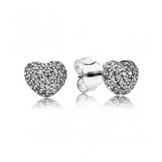 Pandora Earring-Silver Cubic Zirconia Pave Heart Stud Jewelry