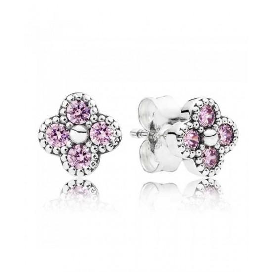 Pandora Earring-Oriental Blossom Pink Cubic Zirconia Jewelry