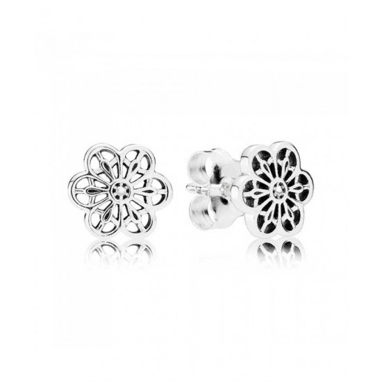 Pandora Earring-Silver Cubic Zirconia Floral Daisy Lace Jewelry