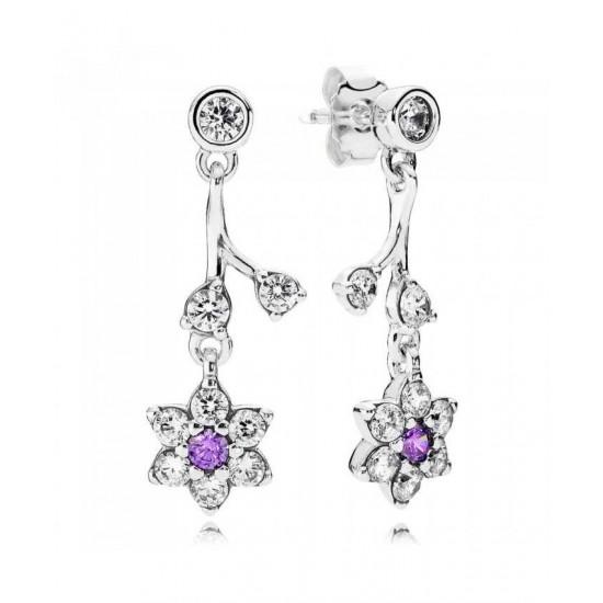 Pandora Earring-Silver Cubic Zirconia Forget Me Not Drop Jewelry