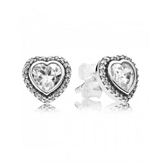 Pandora Earring-Silver Cubic Zirconia Heart Stud Jewelry