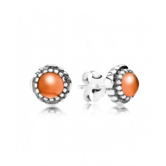 Pandora Earring-Silver July Birthstone Carnelianstud Jewelry