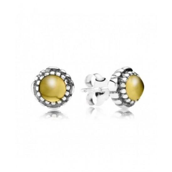 Pandora Earring-Silver November Birthstone Citrine Stud Jewelry