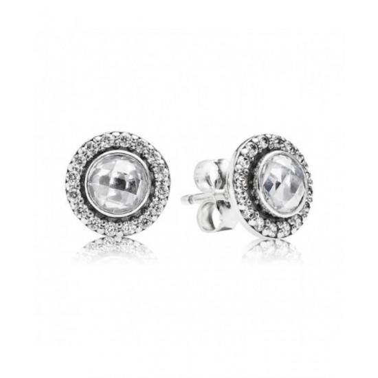 Pandora Earring-Silver Round Cubic Zirconia Stud Jewelry