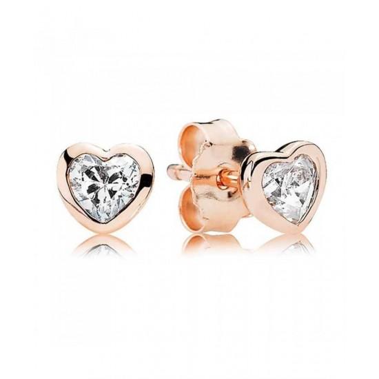 Pandora Earring-Rose Heart Stud Jewelry