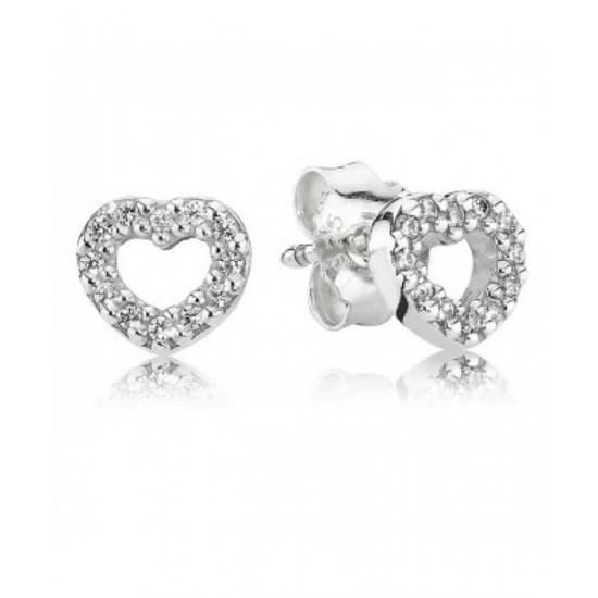Pandora Earring-Silver Cubic Zirconia Open Heart Studs Jewelry