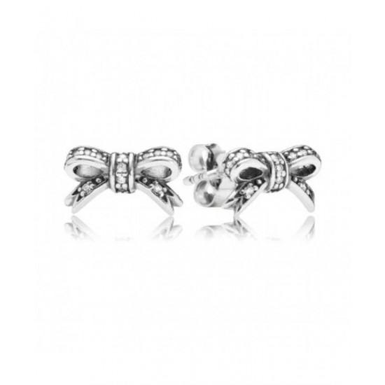 Pandora Earring-Silver Delicate Bow Stud Jewelry