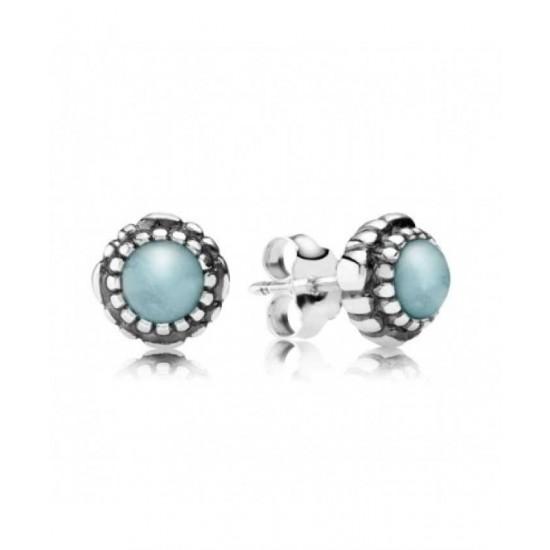 Pandora Earring-Silver March Birthstone Aquamarine Stud Jewelry