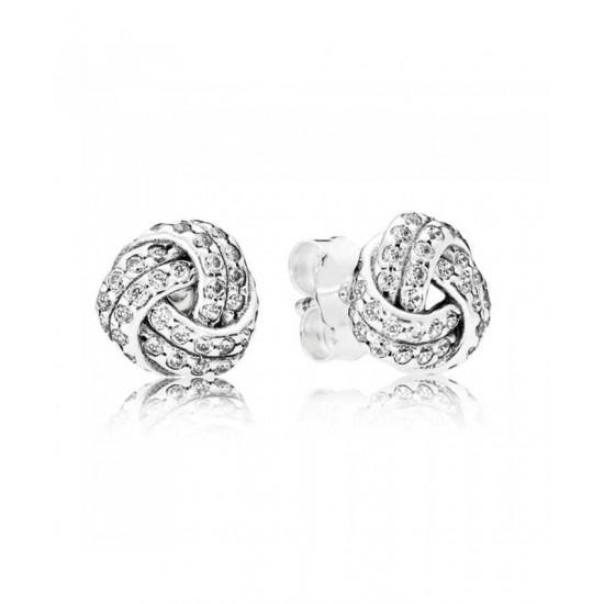 Pandora Earring-Silver Sparkling Love Knots Stud Jewelry