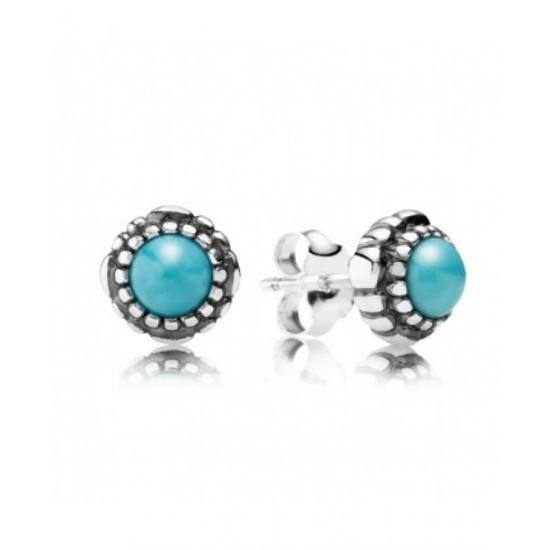 Pandora Earring-Silver December Birthstone Turquoise Stud Jewelry