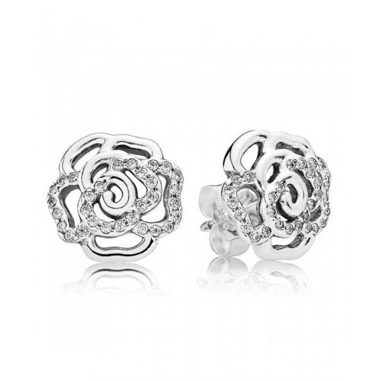 Pandora Earring-Silver Rose Cubic Zirconia Stud Jewelry