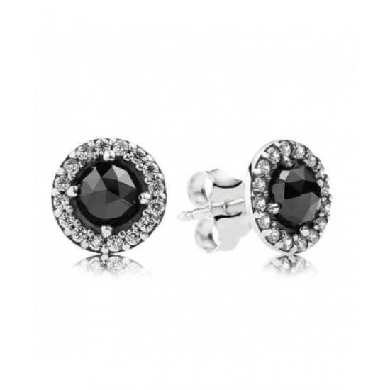 Pandora Earring-Silver Sparkling Black Spinel Cubic Zirconia Stud Jewelry