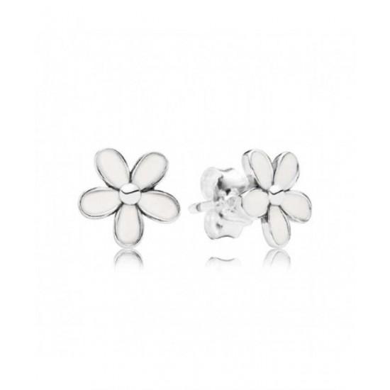 Pandora Earring-Silver White Enamel Flower Studs Jewelry