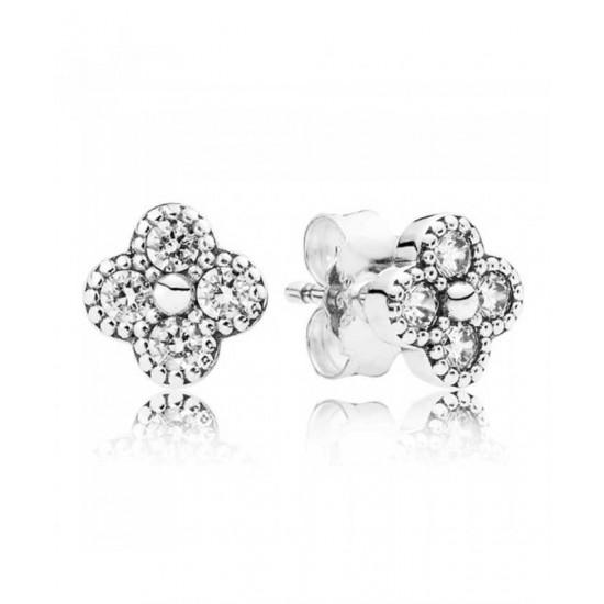 Pandora Earring-Oriental Blossom Cubic Zirconia Jewelry