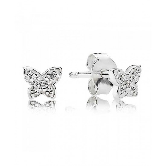 Pandora Earring-Silver Cubic Zirconia Butterfly Stud Online Shop