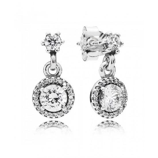 Pandora Earring-Silver Cubic Zirconia Round Jewelry