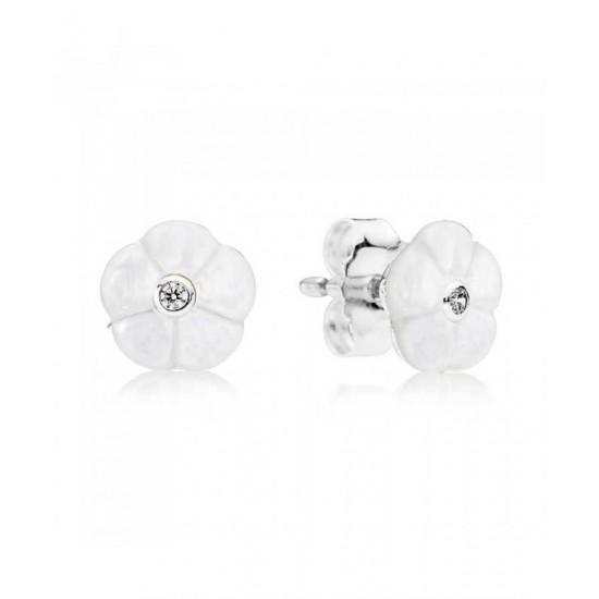 Pandora Earring-Silver Luminous Floral Jewelry