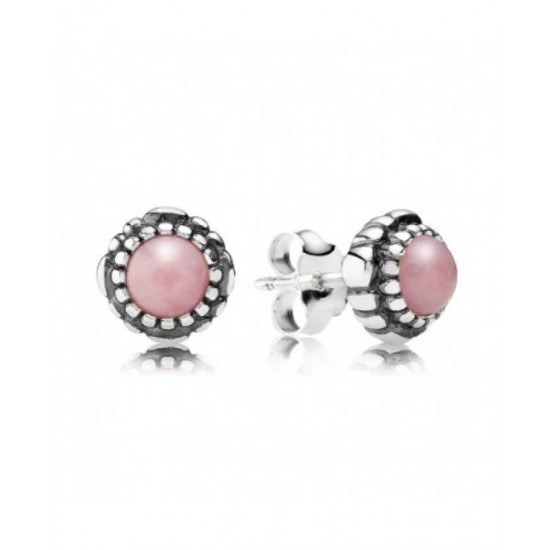 Pandora Earring-Silver October Birthstone Pink Opal Stud Jewelry