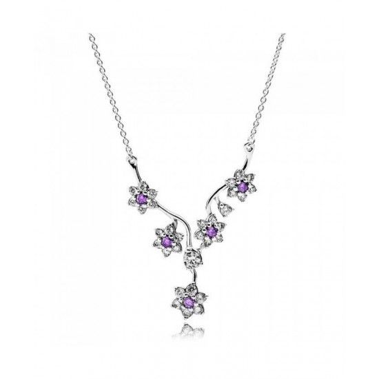Pandora Necklace-Silver Cubic Zirconia Forget Me Not Jewelry