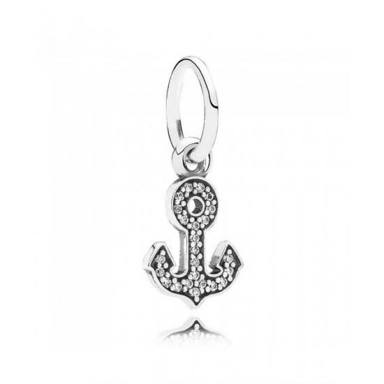 Pandora Pendant-Silver Cubic Zirconia Anchor Dropper Jewelry
